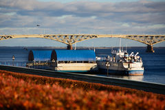 Barge on the Volga River on a sunny day.  Stock Photos