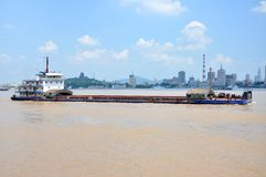Barge on Yangtze River, Nanjing, China Royalty Free Stock Photos
