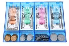 Bargeld-abgehobener Betrag des Spielzeug-Papiers und des Münzen-Geldes USD Lizenzfreie Stockbilder