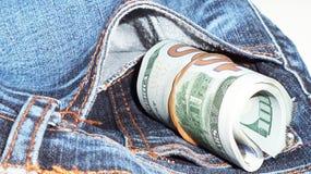 Bargeld auf Tasche Lizenzfreies Stockbild