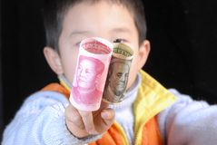 Bargeld China-US Stockfoto