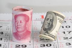 Bargeld China-US Stockfotos