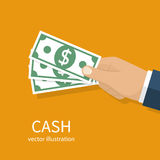 Bargeld in der Hand stock abbildung
