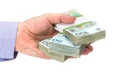 Bargeld in der Hand als Darlehenssymbol Stockbilder