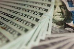 Bargeld 100 Dollar Hintergrund Stockfotos
