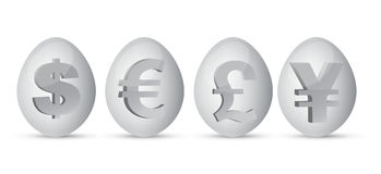 Bargeld eggs Abbildung Stockfotos