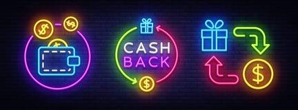 Bargeld-hinterer Neonsymbol-Sammlungs-Vektor Wechseln Sie hintere Leuchtreklame, Designschablone, modernes Tendenzdesign, Kasinol lizenzfreie abbildung
