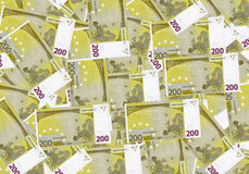 Bargeld-Hintergrundgeld des Euros 200 Feder, Brillen und Diagramme Konzepterfolgsreichwirtschaft Stockbild