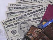 Bargeld oder Karte Stockbild