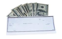 Bargeld und Check Stockbilder