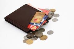 Bargeld und Kreditkarte Stockfotos
