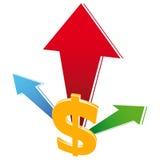Bargeld-Wachstum-Ikone Stockfotos