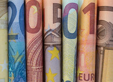 Bargeldgeld- Eurorechnungen, europäisches Geld Stockfotos