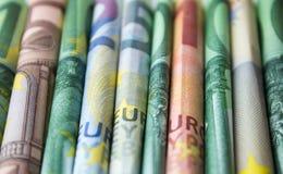 Bargeldgeld- Eurorechnungen, europäisches Geld Stockfotografie