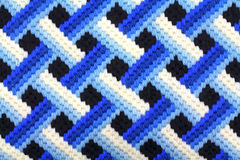 Bargello Blue Latticework Design. A bargello blue latticework design worked in yarn Royalty Free Stock Images