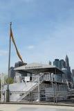 Bargemusic moored in Brooklyn just under the Brooklyn Bridge Stock Image