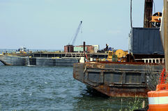 Barges. Photo of Construction Barges stock photo