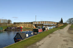 Barges on the Aire canal Stock Image