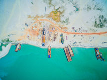 Barges berthed on the beach. Aerial view. Barges berthed on the beach. Construction Royalty Free Stock Photography