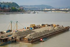 Barges. Cargo transportation on the river Danube stock photography