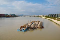 Barges. Cargo transportation on the river Danube stock images