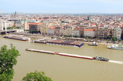 Barges on the Danube river in Budapest Royalty Free Stock Images