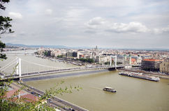 Barges on the Danube river in Budapest Stock Photography