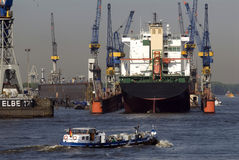 Barges in Hamburg harbor Stock Images