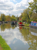 Barges moored at Stoke Bruerne. Royalty Free Stock Image