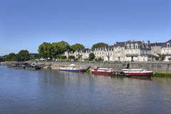 Barges on river at Angers in France Royalty Free Stock Photo