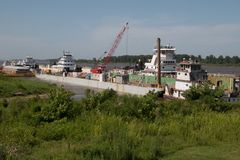 Barges on the River in Kentucky royalty free stock photos