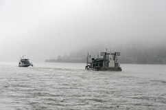 Barges on River Rhine Royalty Free Stock Images