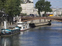 Barges on river Seine, Paris royalty free stock photo