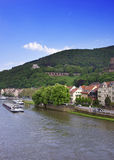 Barges in the river in summer Heidelberg Royalty Free Stock Photos