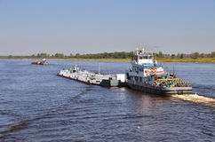 Barges on a river Volga Stock Photo