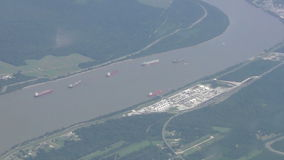 Barges seen from high altitude stock video