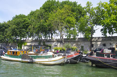 Barges on the Seine Royalty Free Stock Photos