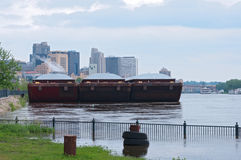 Barges and Skyscrapers of Saint Paul Minnesota Stock Photos