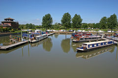Barges in Tewkesbury marina Stock Images