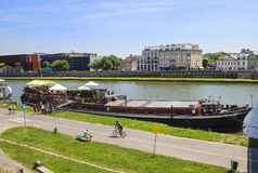 Barges on Wisla river, Krakow Poland Royalty Free Stock Photography