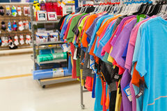 Bargin Shopping: Women's Fitness Clothing and Gear. Women's exercise clothing and equipment department featuring popular brands of clothing at the bargin Stock Photos