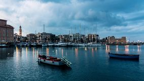 Bari, cityscape of old town and seafront stock video footage
