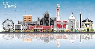 Bari Italy City Skyline avec Gray Buildings, ciel bleu et Reflec illustration stock