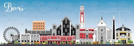 Bari Italy City Skyline avec Gray Buildings et le ciel bleu illustration libre de droits