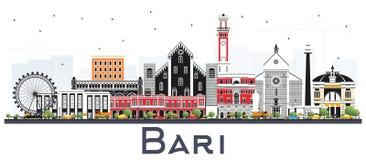 Bari Italy City Skyline avec Gray Buildings Isolated sur le blanc illustration de vecteur