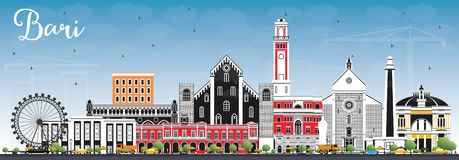 Bari Italy City Skyline con Gray Buildings y el cielo azul libre illustration