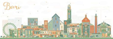 Bari Italy City Skyline con los edificios del color libre illustration