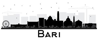 Bari Italy City Skyline Silhouette avec les bâtiments noirs d'isolement illustration stock