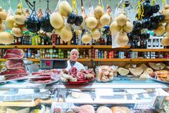 Interior of typical small Italian food store. Bari, Italy. Royalty Free Stock Images