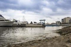 Bari Italy Fisherman`s Boat. In the sea Stock Photo